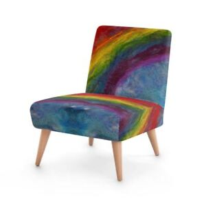 Rainbow Designer Occasional Chair, Handmade to order Sustainable Wood, Eco Print