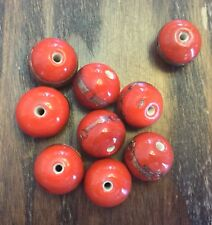 Vintage Japan Tomato Red Applied Copper Sparkle Orbit Chunky Round Glass Beads
