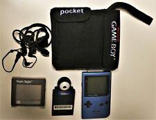 Lot of Nintendo Game Boy Pocket Ice Blue with Games, Printer, Camera, Bag + More