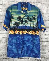 Royal Creations Hawaiian Shirt Mens Palm Trees Blue Hawaii Aloha Vintage L