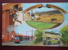 POSTCARD SPORT WOLVERHAMPTON - MOLINEUX - TROLLEYBUS & METRO - BILLY WRIGHT STAT