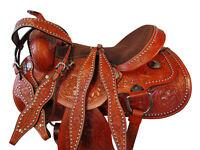 PADDED SUEDE SEAT WESTERN BARREL RACING SADDLE 17 16 PLEASURE HORSE TRAIL TACK