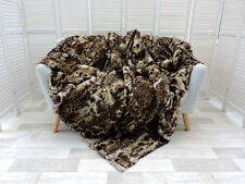 LUXE, vrai CANADIEN Martre Jeté de lit, couverture motif léopard 220cm x 200cm