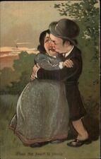 Cute/Funny Looking Couple Kissing Park PFB Embosed Postcard #1 PFB Caricature