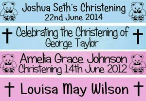 PERSONALISED BABY PINK BLUE CHRISTENING BANNER DECORATION CONFIRMATION COMMUNION