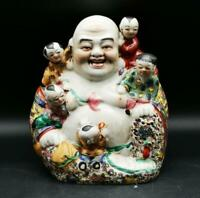 "9.1"" Chinese Colour Porcelain Happy Laugh Maitreya Buddha Five Children Statue"
