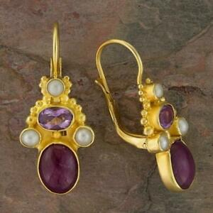Brighton Ruby, Amethyst and Pearl Earrings: Museum of Jewelry