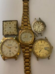 Lot 5 Vintage Bulova ACCUTRON or Self Winding Watches for Parts or Repair W2-104