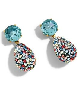 J CREW Crystal and Pave Teardrop Earrings New on Card - Blue Multi Color