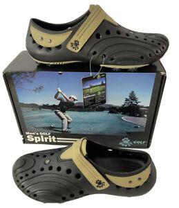 Dawgs Mens Golf Spirit Black & Tan Rubber Slip On Shoes US Sz 12 NEW NWT & Box
