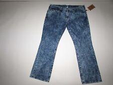 True Religion Men's Straight W Flaps Jeans Size 42 x 34 NWT Blue Soot Acid Wash