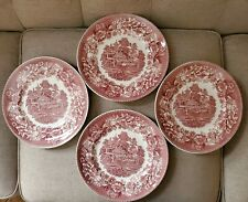 "4 Avon Cottage by Wedgwood & Co. Pink 9 3/4"" Dinner Plates. 1962 Made in England"