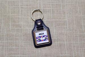MG MGA Roadster Keyring - Leatherette and Chrome Keytag