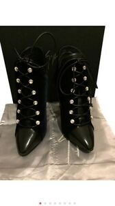 Giuseppe Zanotti Blue Leather & Velvet Lace-Up Booties Fast Shipping