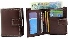 ASHFIELD Mens Real Leather Wallet With Zip Coin Pocket Pouch ID Window 108 Brown