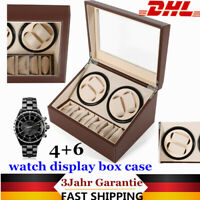 Luxury! Montre Automatique Watch Winder Box Coffret boîte pour 4+6 montres Brown