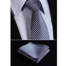 Retro Mens Tie Blue Black Silver Grey Stripe Zig Zag Wedding Necktie Silk  HANKY