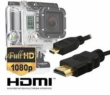 Extra Long 3 Metre Micro HDMI HD Video Cable for Gopro Hero3,Hero3+,Hero4 Bla...
