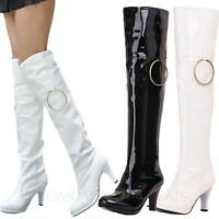 LADIES WOMENS BLACK OVER KNEE THIGH HIGH HEEL STRETCH PATENT LEATHER BOOTS SHOES