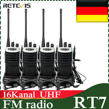4*Retevis RT7 Walkie Talkie UHF Funkgerät 16CH CTCSS/DCS 1000mAh Ham Radio