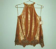 NEW Altar'd State Women's Orange Velvet High Neck Crochet Halter Top Size Small