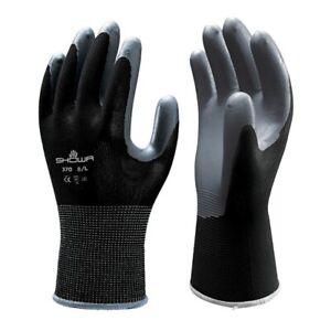 SHOWA 370 Assembly Precision Grip Gloves Nitrile Palm Workwear Black
