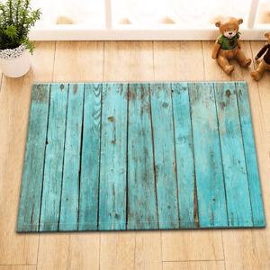 Rustic Blue Wood Board Room Floor Carpet Non-skid Door Bath Mat Home Decor Rug