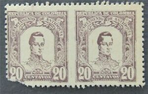 nystamps Colombia Stamp Imperf Between Error Pair Rare   L30y314