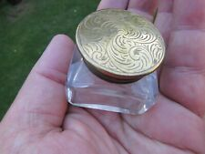 More details for antique victorian inkwell engraved top for writing slope vgc+ size 4.3 cm square