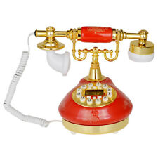 Kmise Retro Vintage Style Button Ceramic Antique Telephone Dial Desk Phone Red