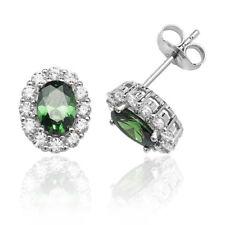 Sterling Silver Designer 'Silver & Co' Green & White Cluster Stud Earrings