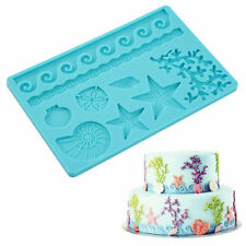 Seashell Conch Wave Star Fondant Cake Embossing Mould Decor Silicone Mold