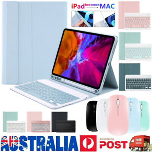 """Bluetooth Keyboard Leather Case & Mouse For iPad 5th 6th 7th 8th Gen 10.2"""" Air 4"""