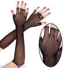 Sheer Goth Punk Black Fishnet Fingerless Elbow Length Gloves Costume Arm Warmers