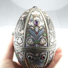 RUSSIAN Enamel Silver Antique FABERGE Egg Gem Set Signed