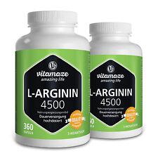 L-Arginin 4.500 hochdosiert 2 Dosen:2x360 Kapseln für 2x3 Monate Made in Germany