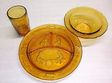 A Tiara Exclusive Jack and Jill Themed Children's Dishes Amber Glass