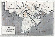 Antique map Cochinchina Vietnam 1875 Kotschinchina karte Cocincina mappa
