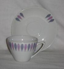 Vintage Mid Century Modern Upsala Ekeby Demitasse Cup Saucer Purple Blue Leaves