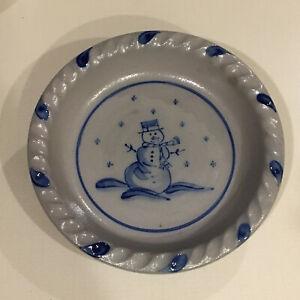 Rowe Pottery Works Snowman Pie Plate Salt Glazed   .     .