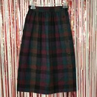 """Vintage 1970s Plaid A-Line Skirt front button closure Made in USA  - 24.5"""" waist"""