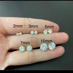 0.5CT 1CT 2CT 3CTRound Cut Lab diamond Earrings 14k Yellow Gold Studs Screw-Back