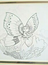 LETICIA TARRAGO ORIGINAL PEN SKETCH FROM HER BUTTERFLY SERIES SIGNED