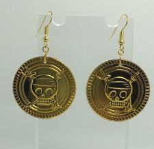 Large Pirates Gold Coin Charms Acrylic Earrings Kitsch G307 Fun Costume