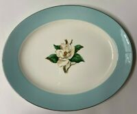 HOMER LAUGHLIN LIFETIME CHINA CO MAGNOLIA TURQUOISE SERVING PLATTER BEAUTIFUL