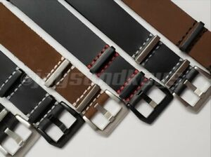 JaysAndKays® 22mm Classic Style Genuine Leather Strap Brown Black Red White PVD