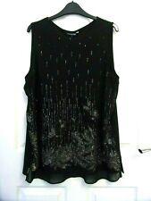 Formal Blouse Size 18 by Debenhams.Black Silky,Sheer Hem/Lining.Silver Thread.
