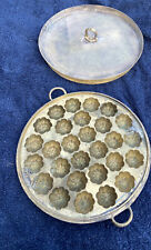 More details for vintage solid brass chinese moon cake mold & lid 25.5 cm (heavy)