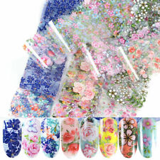 10Pcs Starry Flower Foil Transfer Decals Holographic Nail Stickers Mixed Style