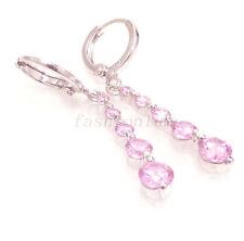 Women Wedding White Gold Plated Pink Simulated Diamond 4cm Long Dangle Earrings